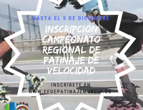 INSCRIPCIÓN CAMPEONATO REGIONAL PATINAJE DE VELOCIDAD 2019